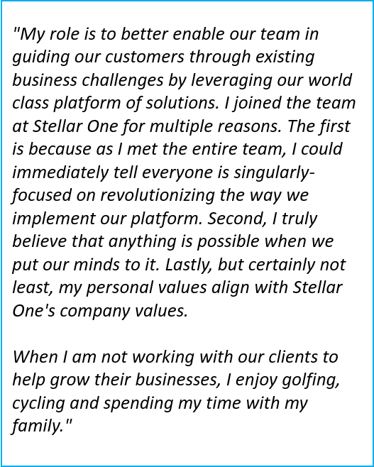 Kevin Patrick is the VP, Consulting at Stellar One Consulting, an SAP Partner specializing in SAP Business One Cloud ERP implementations and support.