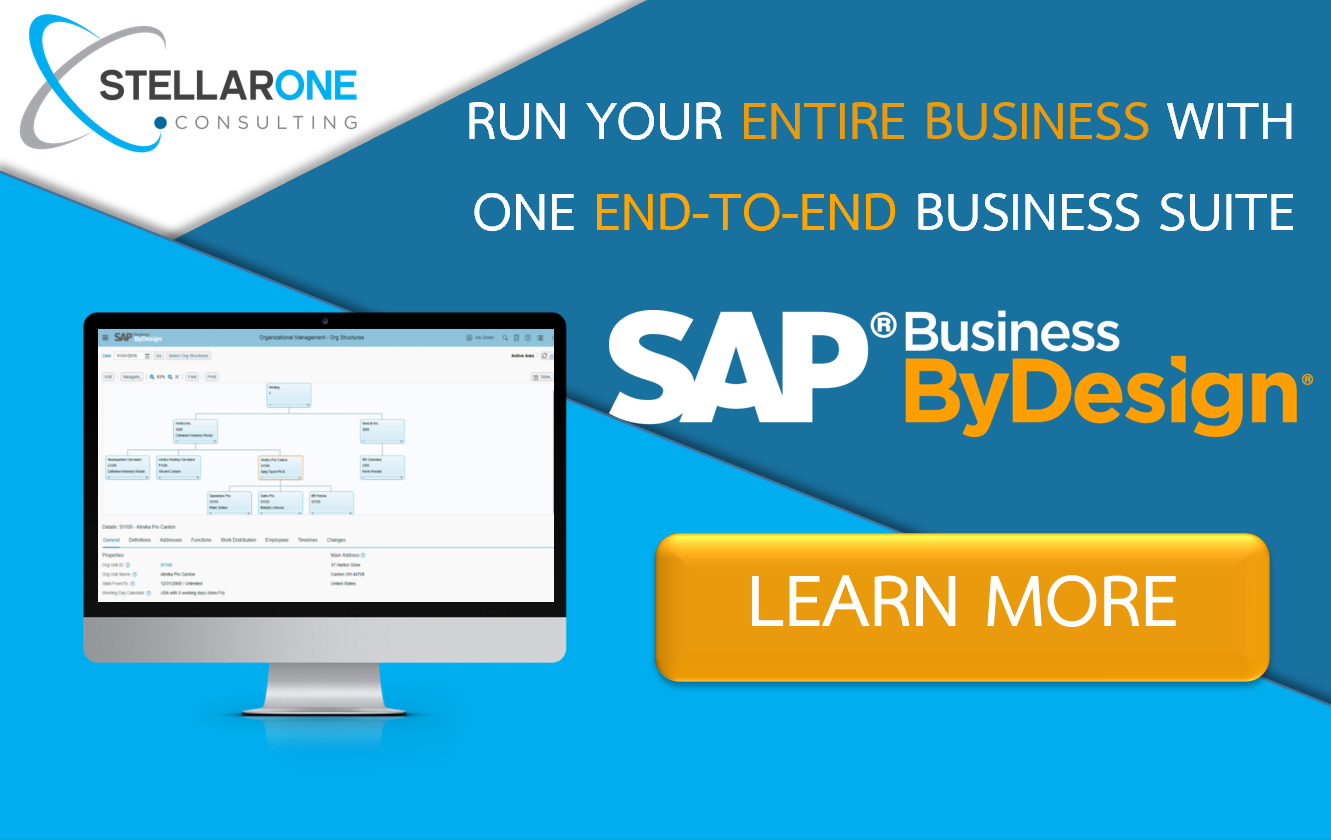 Learn more about SAP Business ByDesign Cloud ERP Software with Stellar One Consulting